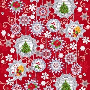 Ткань на отрез дорожка 50 см 35043/1 Новогодние узоры