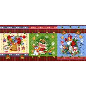 Ткань на отрез вафельное полотно набивное 150 см Новогодние чудеса 11133/1