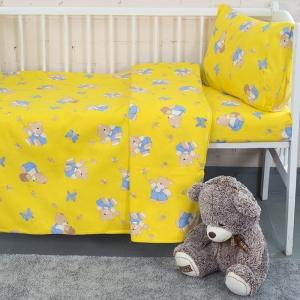 Постельное белье в детскую кроватку из бязи 1332/4 За медом желтый