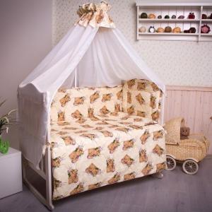 Набор в кроватку 7 предметов с оборками Мишка в облаках бежевый