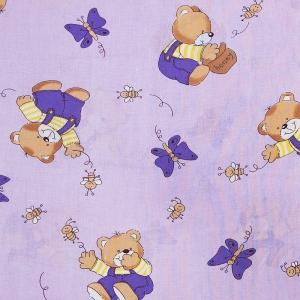 Ткань на отрез бязь ГОСТ детская 150 см 1332/3 За медом цвет сиреневый