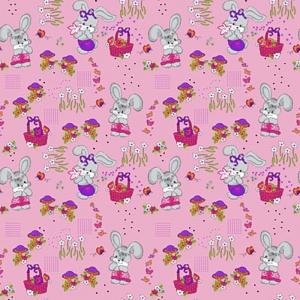 Бязь 120 гр/м2  детская 150 см 1304/2 Лесная сказка цвет розовый