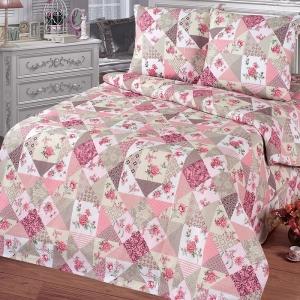 Постельное белье бязь 11098/2 Лоскутная мозаика розовый Стандарт 1.5 сп