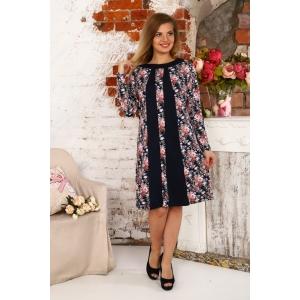Платье Алина интерлок светло розовые цветы Д410 р 54