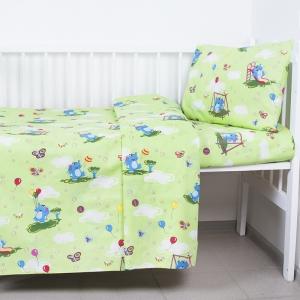 Пододеяльник бязь ГОСТ детский 315/3 Слоники с шариками цвет зеленый 145/110 см