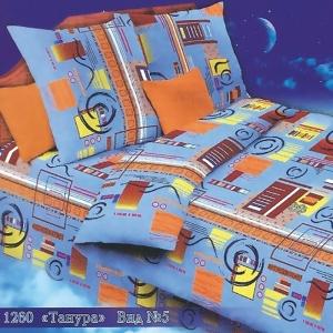 Постельное белье бязь 1260/5 Танура голубой 1.5 сп с 1-ой нав. 70/70
