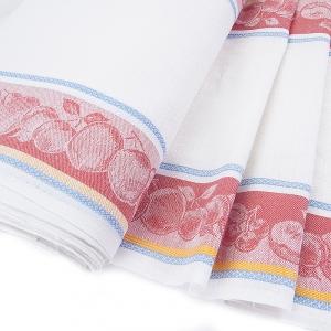 Ткань на отрез полулен полотенечный 50 см Жаккард цвет красный