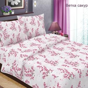 Ткань на отрез бязь 120 гр/м2 150 см 489-2 Ветка сакуры цвет розовый