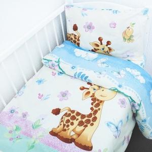 Постельное белье в детскую кроватку из перкаля 4589/1  с простыней на резинке