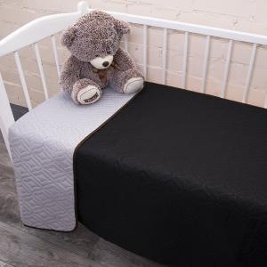 Покрывало детское ульрастеп двухстороннее Черный/14-4203 серый 105/150