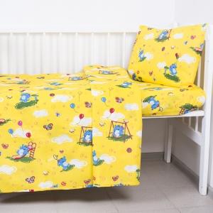 Постельное белье в детскую кроватку из бязи 315/5 Слоники с шариками цвет желтый ГОСТ