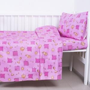 Постельное белье в детскую кроватку из бязи 366/3 Жирафики цвет розовый ГОСТ