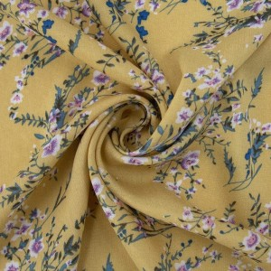 Ткань на отрез штапель К02 Цветы на желтом