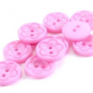 Пуговица детская на два прокола кругл Цветок 18 мм цвет св-розовый упаковка 28 шт