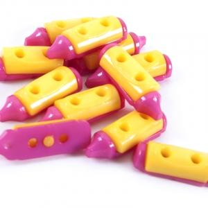 Пуговица детская сборная Карандаш 20 мм желтый/малиновый упаковка 24 шт