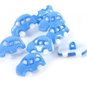Пуговица детская сборная Машинка 18 мм цвет голубой упаковка 10 шт
