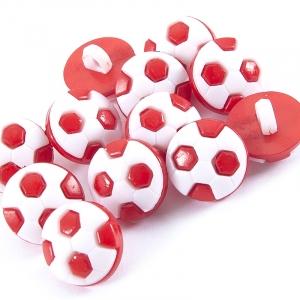 Пуговица детская сборная Мяч 13 мм цвет красный упаковка 32 шт