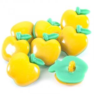 Пуговица детская сборная Яблоко 21 мм цвет желтый упаковка 10 шт