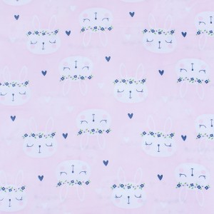 Ткань на отрез кулирка карде Зайцы на розовом 3247-V1