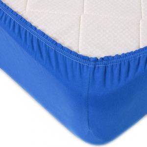 Простыня трикотажная на резинке Премиум М-2093 цвет голубой 90/200/20 см
