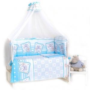 Набор в кроватку 7 предметов с оборками Лежебоки  цвет голубой