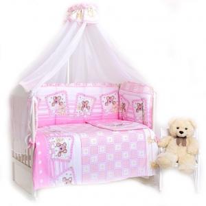 Набор в кроватку 7 предметов с оборками Лежебоки цвет розовый