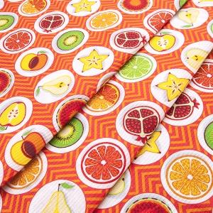 Вафельное полотно набивное 150 см 477/3 Фрукты цвет оранжевый