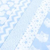 Набор отрезов ткани 50/50 +/- 5 см 5 шт 100 цвет голубой