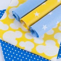 Набор отрезов ткани 50/50 +/- 5 см 5 шт 112 цвет желто-голубой
