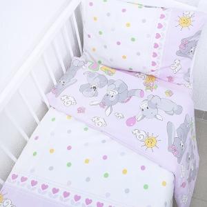 Постельное белье в детскую кроватку 92851 бязь ГОСТ с простыней на резинке