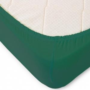 Простыня трикотажная на резинке Премиум цвет темно-зеленый 120/200/20 см