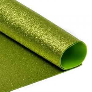 Фоамиран глиттерный 2 мм 20/30 см уп 10 шт MG.GLIT.H036 цвет светло-зеленый