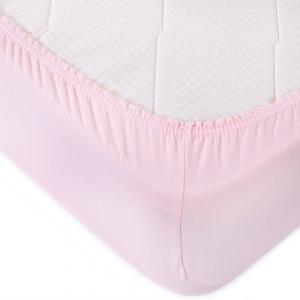 Простыня трикотажная на резинке цвет светло-розовый 90/200/20 см
