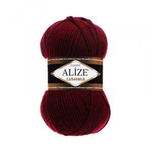 Пряжа ALIZE LANAGOLD 57-бордовый (49% шерсть 51% акрил)
