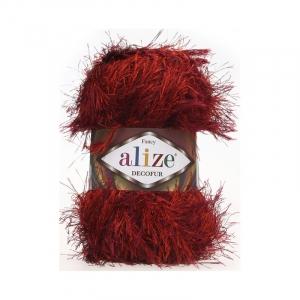 Пряжа ALIZE DECOFUR 1373-красно-бордовый (100% полиэстер)