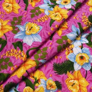 Рогожка 150 см 0097/3 Нарциссы цвет розовый