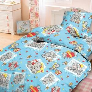 Бязь 120 гр/м2  детская 150 см 543/3 Плюшевые мишки цвет голубой