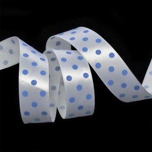 Лента атласная горох ширина 25 мм (27,4 м) цвет 31102925 белый-голубой
