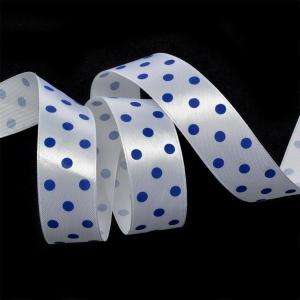 Лента атласная горох ширина 25 мм (27,4 м) цвет 32902925 белый-синий