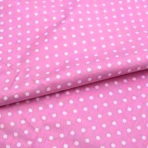 Ткань на отрез поплин 150 см 388/2 Горошек цвет розовый