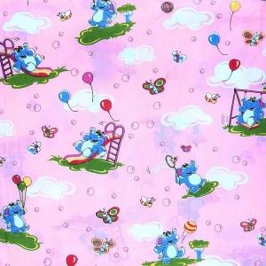 Бязь ГОСТ детская 150 см 315/2 Слоны с шариками цвет розовый