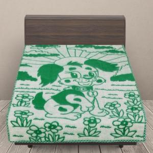 Одеяло п/ш жаккардовое детское 420 гр/м2 щенки цвет зеленый 100/140 см