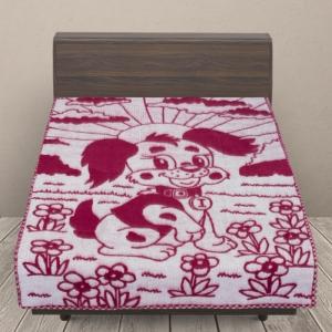 Одеяло п/ш жаккардовое детское 420 гр/м2 щенки цвет вишня 100/140 см