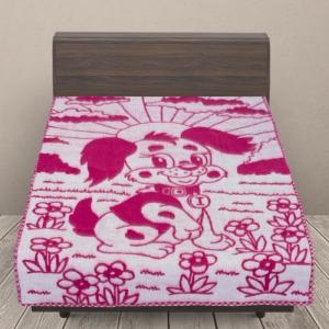Одеяло п/ш жаккардовое детское 420 гр/м2 щенки цвет малина 100/140 см