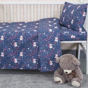 Постельное белье в детскую кроватку из бязи 7247/2 Лисички цвет синий
