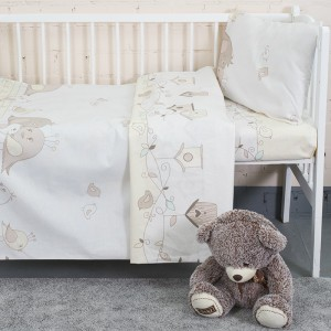 Постельное белье в детскую кроватку из бязи 8077 Птенчики цвет бежевый