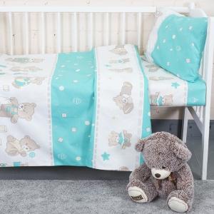 Постельное белье в детскую кроватку из бязи 8073/5 Мишки мята