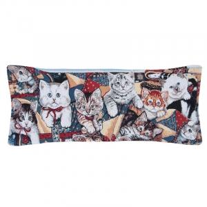 Чехол на подушку-валик гобелен 30/85 см Кошки
