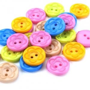 Пуговица детская на два прокола кругл Цветок 15 мм цвет бежевый упаковка 24 шт
