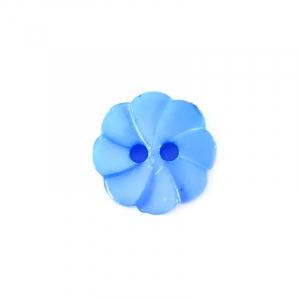 Пуговица детская на два прокола Розочка 13 мм цвет голубой упаковка 24 шт